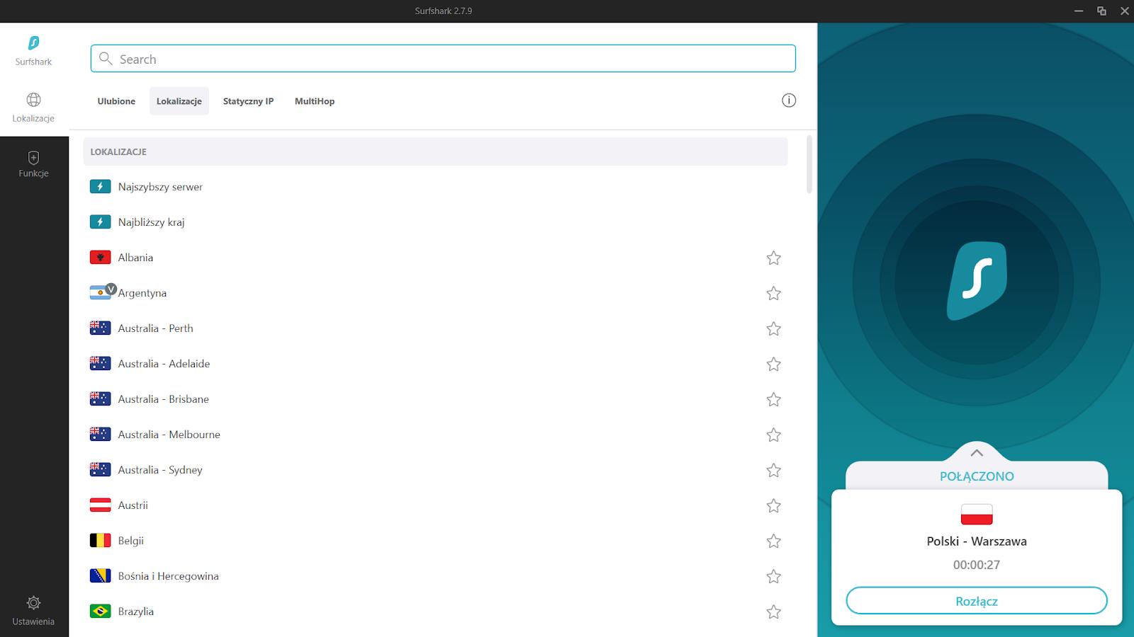 Surfshark - lokalizacje serwerów