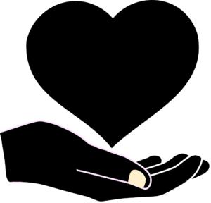Dłoń i serce jako symbol niesienia pomocy