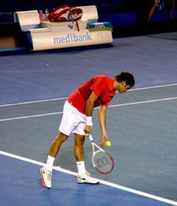 Roger Federer na korcie w Melbourne