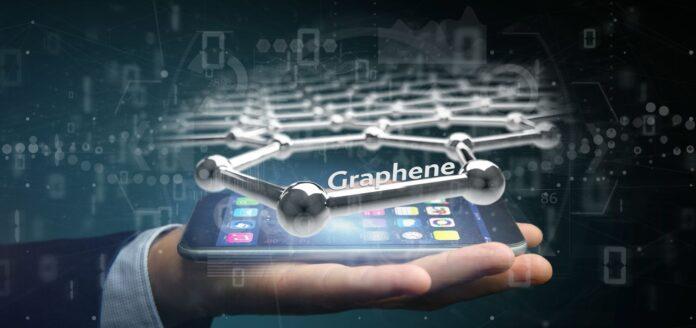Cząsteczka grafenu wyświetlana nad smartfonem