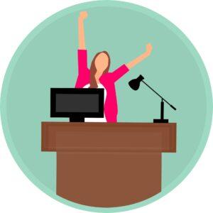 Animowana kobieta wstająca zza biurka