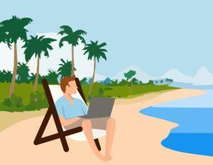 Animowany mężczyzna pracujący na urlopie