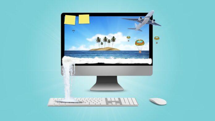Monitor komputera wyświetlający potencjalny urlop