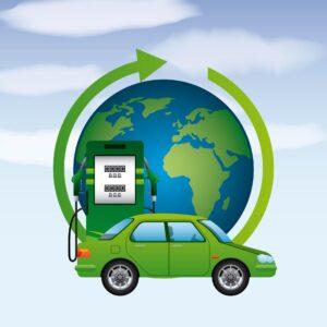 Grafika przedstawiająca ekologiczne auto i dystrybutor biopaliwa