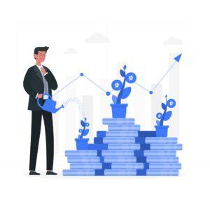 Grafika przedstawiająca koncepcję inwestowania