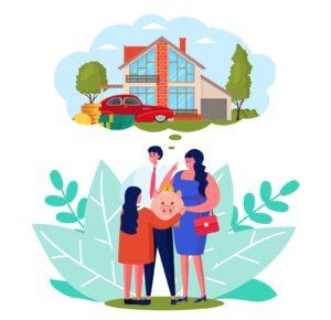 Rodzice wręczający dorosłemu dziecku oszczędności