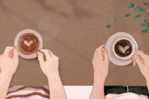 Ilustracja przedstawiająca zakochanych na randce w kawiarni