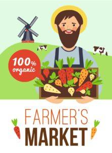 Grafika przedstawiająca żywność ekologiczną