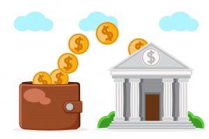 Przepływ pieniędzy z portfela klienta do banku