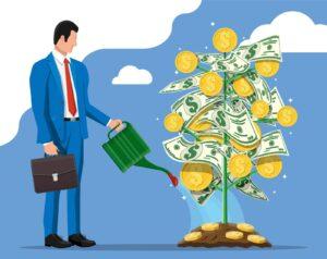 Grafika przedstawiająca mężczyznę inwestującego swoje oszczędności