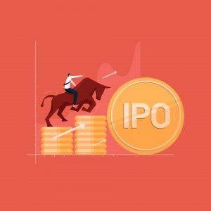 Biznesmen na byku inwestujący w IPO
