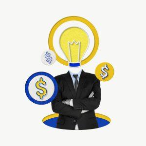 Inteligentny biznesmen zarabiający na kreatywnym marketingu
