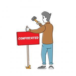"""Tablica z napisem """"skonfiskowano"""""""