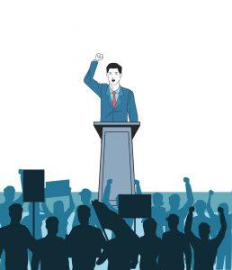 Polityk z charyzmą przemawiający do tłumu