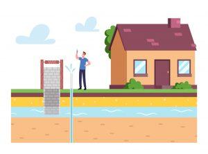 Grafika przedstawiająca studnię głębinową stojącą w pobliżu domu