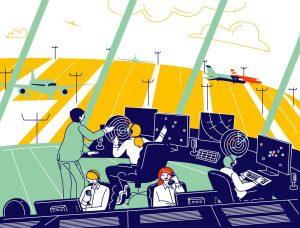 Grafika prezentująca kontrolerów ruchu lotniczego w pracy