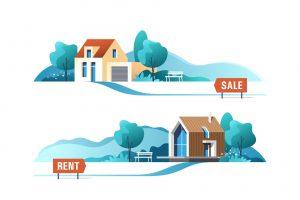 Dwie nieruchomości: jedna na sprzedaż, druga do wynajęcia